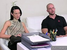 Female agent in threesome on couch on casting