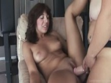Homemade lesbian sluts playing with a strap-on