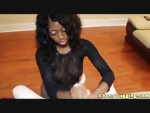 Homemade Ebony Tugging White Meat Pov