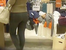 Sexy ass in spandex at the mall