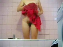 Enjoy my hairy mom totally naked in bath room