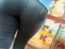 Candid Latina Sexy Big Butt Jeans