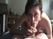 girlfriend deepthroats huge cock