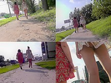 G-string upskirt footage of a babe wearing mini skirt
