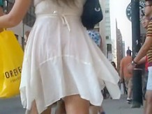 Skirt incident on the street